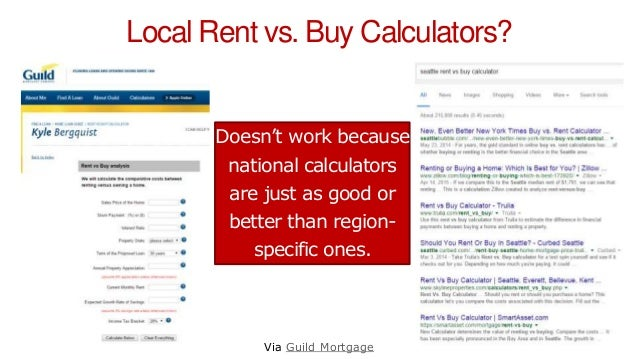 Local Rent vs. Buy Calculators? Via Guild Mortgage Doesn't work because national calculators are just as good or better th...
