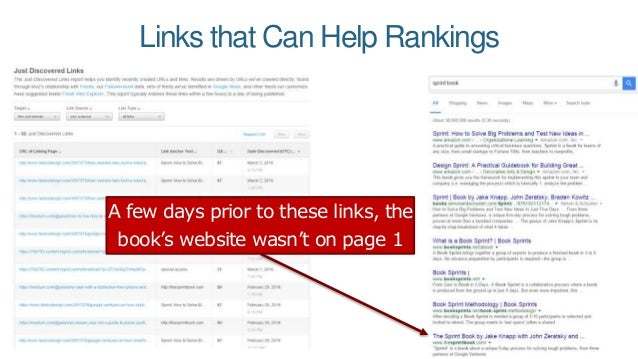 Links that Can Help Rankings A few days prior to these links, the book's website wasn't on page 1