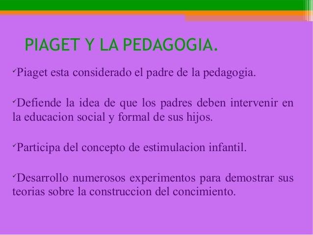PIAGET Y LA PEDAGOGIA.  Piaget esta considerado el padre de la pedagogia.  Defiende la idea de que los padres deben inte...