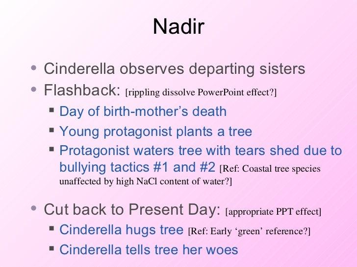 Nadir <ul><li>Cinderella observes departing sisters </li></ul><ul><li>Flashback:  [rippling dissolve PowerPoint effect?] <...