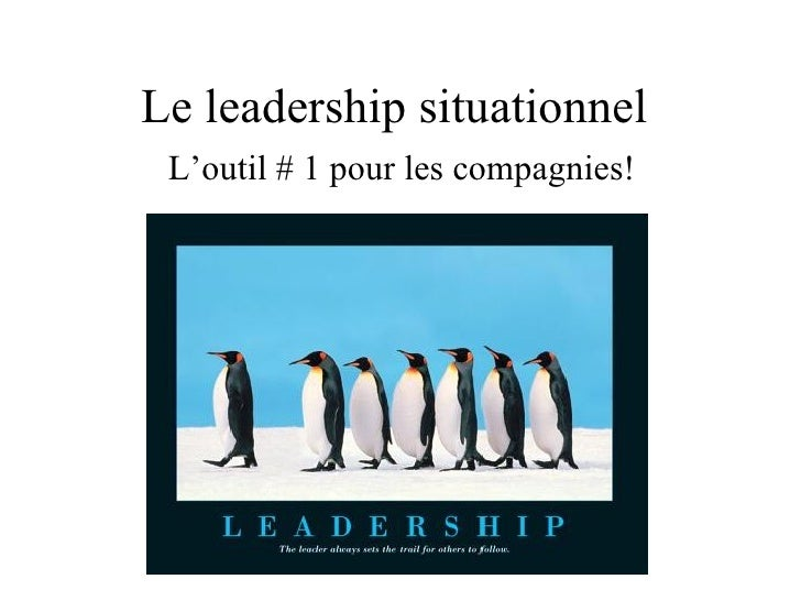 Le leadership situationnel  L  L'outil # 1 pour les compagnies!
