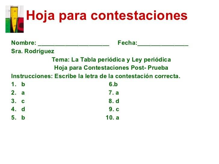 La Tabla Periódica y la Ley Periódica
