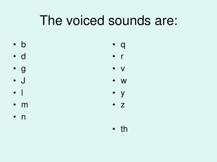 The voiced sounds are:•   b              •   q•   d              •   r•   g              •   v•   J              •   w•   ...