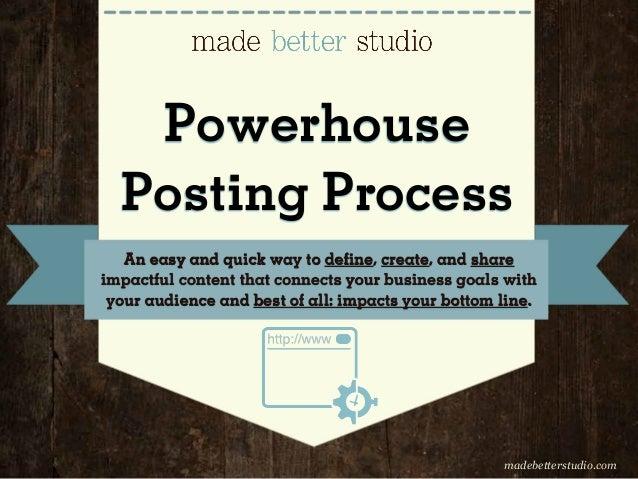 Powerhouse Posting Process An easy and quick way to define, create, and share impactful content that connects your busines...