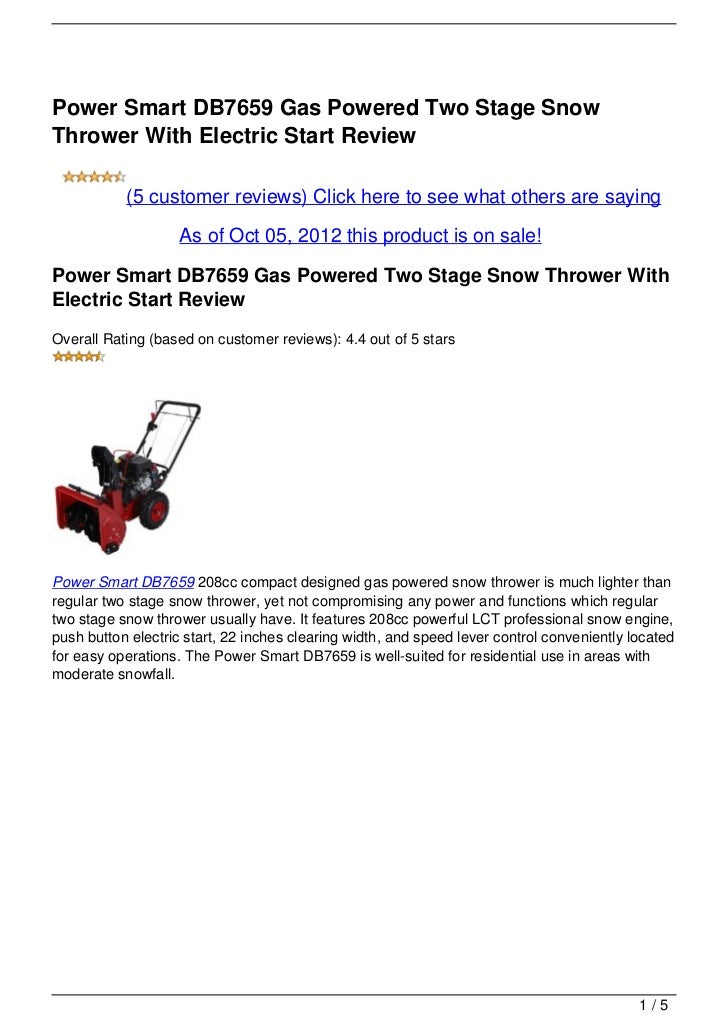 Power Smart DB7659 Gas Powered Two Stage SnowThrower With Electric Start Review           (5 customer reviews) Click here ...