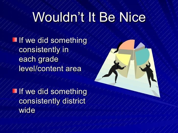 Wouldn't It Be Nice <ul><li>If we did something consistently in each grade level/content area </li></ul><ul><li>If we did ...