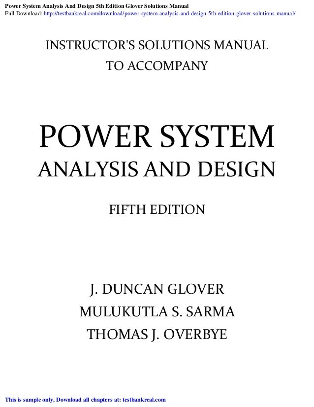 Power System Analysis And Design 5th Edition Glover Solutions Manual