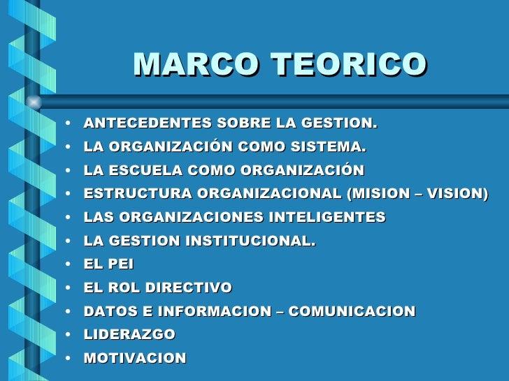 MARCO TEORICO <ul><li>ANTECEDENTES SOBRE LA GESTION. </li></ul><ul><li>LA ORGANIZACIÓN COMO SISTEMA. </li></ul><ul><li>LA ...