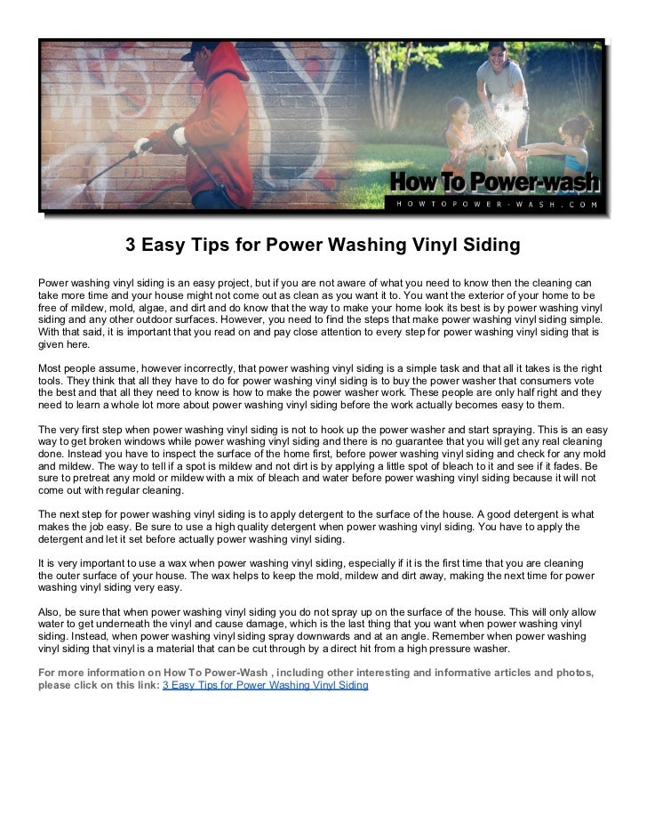 3 Easy Tips for Power Washing Vinyl SidingPower washing vinyl siding is an easy project, but if you are not aware of what ...