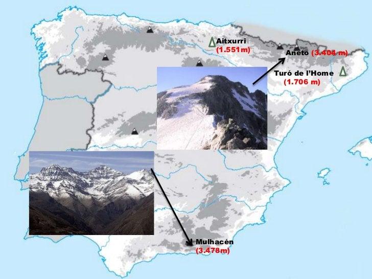 Aitxurri    (1.551m)     Aneto (3.404 m)               Turó de l'Home                 (1.706 m)Mulhacén(3.478m)