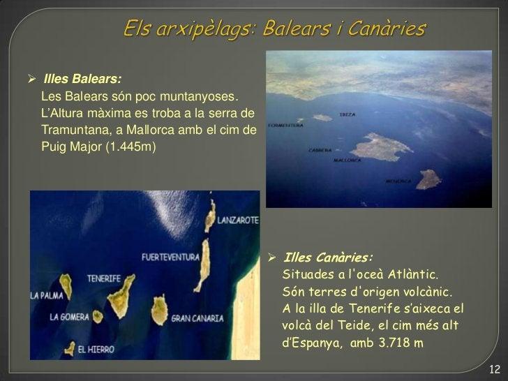  Illes Balears:  Les Balears són poc muntanyoses.  L'Altura màxima es troba a la serra de  Tramuntana, a Mallorca amb el ...