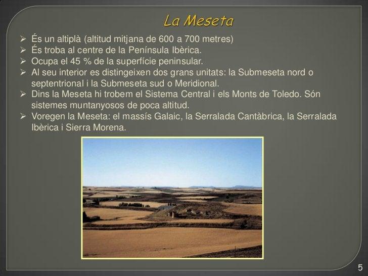  És un altiplà (altitud mitjana de 600 a 700 metres) És troba al centre de la Península Ibèrica. Ocupa el 45 % de la su...
