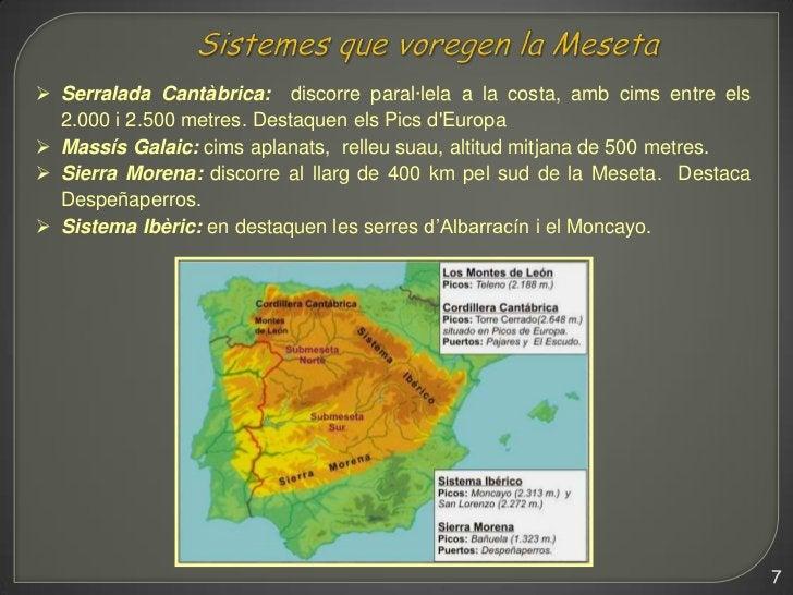  Serralada Cantàbrica: discorre paral·lela a la costa, amb cims entre els  2.000 i 2.500 metres. Destaquen els Pics dEuro...