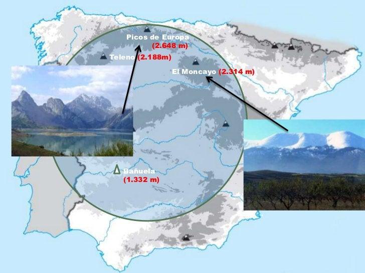 Picos de Europa          (2.648 m)Teleno (2.188m)                  El Moncayo (2.314 m)   Bañuela   (1.332 m)