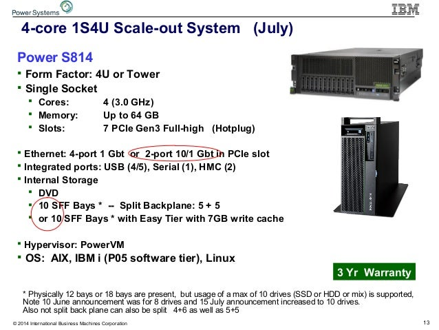 13© 2014 International Business Machines Corporation 4-core 1S4U Scale-out System (July) Power S814  Form Factor: 4U or T...