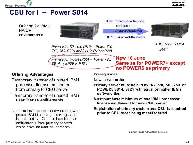 22© 2014 International Business Machines Corporation CBU for i -- Power S814 Offering for IBM i HA/DR environments Prerequ...