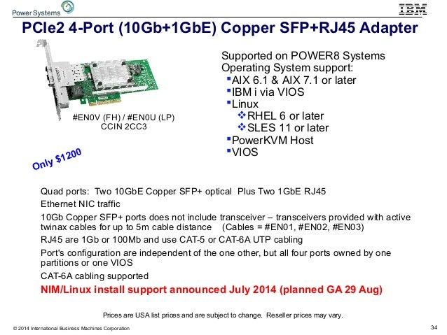 34© 2014 International Business Machines Corporation PCIe2 4-Port (10Gb+1GbE) Copper SFP+RJ45 Adapter #EN0V (FH) / #EN0U (...