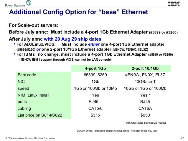 """37© 2014 International Business Machines Corporation Additional Config Option for """"base"""" Ethernet For Scale-out servers: B..."""