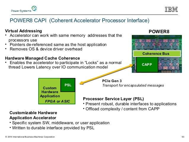 Custom Hardware Application POWER8 CAPP Coherence Bus PSL FPGA or ASIC Customizable Hardware Application Accelerator • Spe...