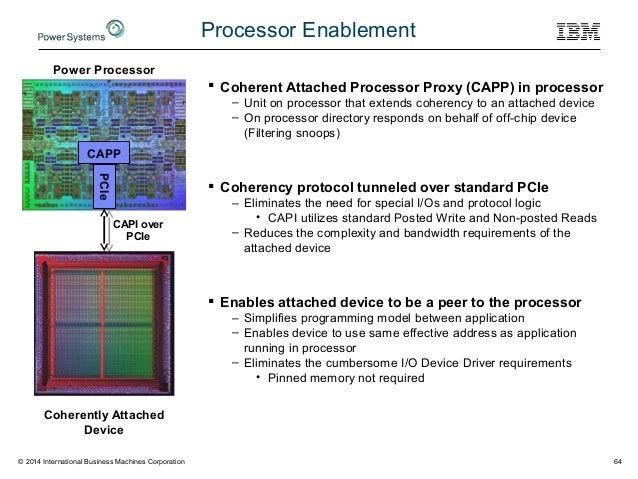 © 2014 International Business Machines Corporation 64 Processor Enablement CAPP PCIe Power Processor CAPI over PCIe Cohere...