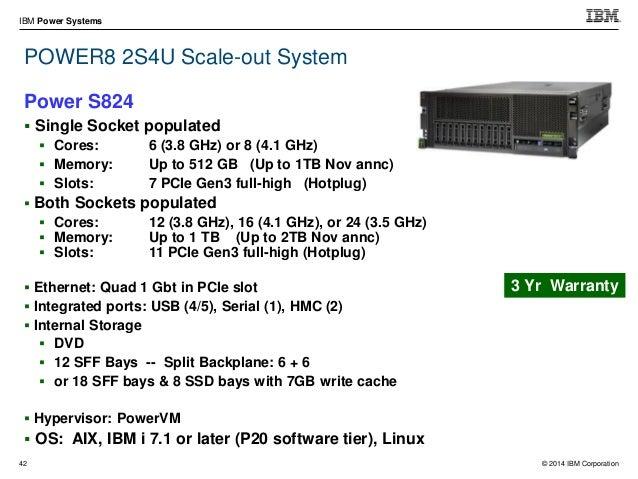 "© 2014 IBM Corporation IBM Power Systems 57  4U in standard 19"" rack  PCIe Gen3 x8 or x16 slots – Full-High, Full-Length..."