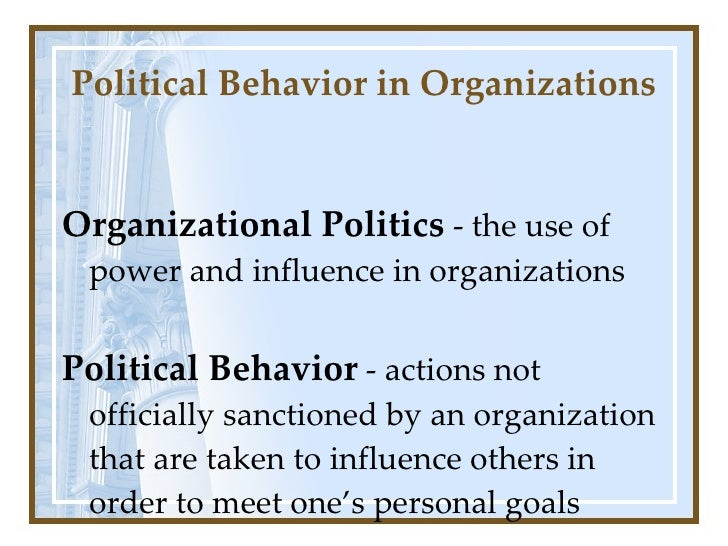 organization and political power Understand and be able to differentiate different forms of power that are utilized understand how power is gained and how it is also maintained comprehend the positive and negative aspects of varying forms of power blanchfield, j, & biodi, d (1996) power in practice: a study of nursing .