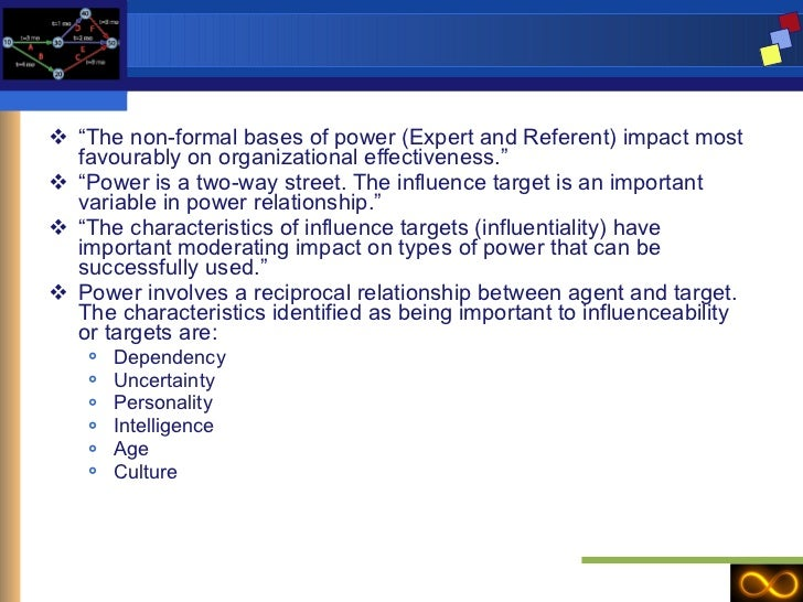 """<ul><li>"""" The non-formal bases of power (Expert and Referent) impact most favourably on organizational effectiveness."""" </l..."""