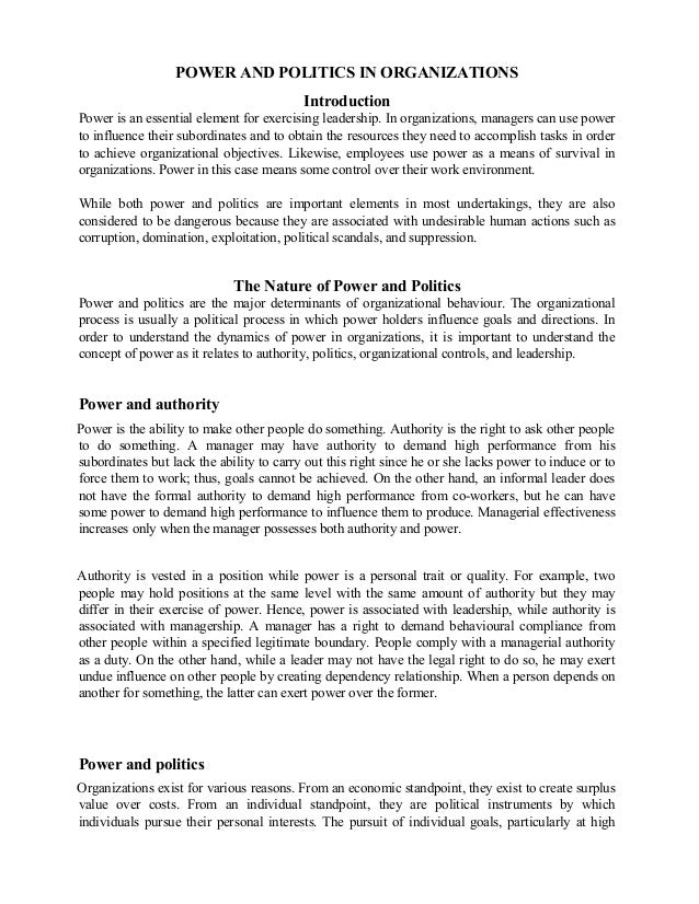 Power and politics in organizations essays on poverty