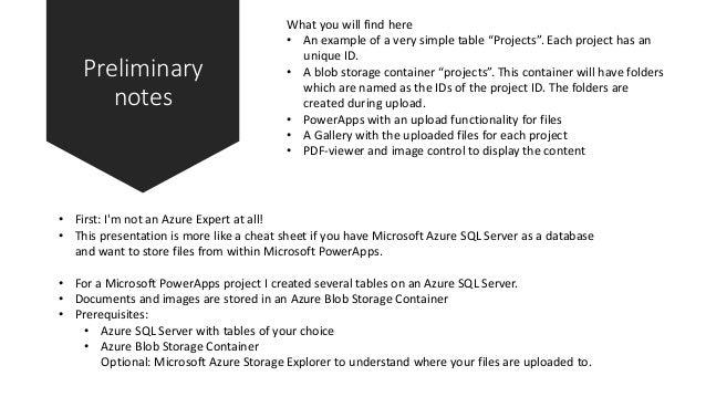 PowerApps and Azure SQL Server / Blob storage