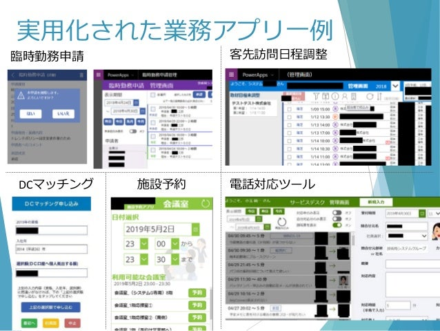 実用化された業務アプリ一例 臨時勤務申請 DCマッチング 客先訪問日程調整 電話対応ツール施設予約