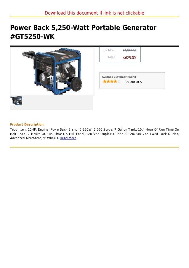 Power Back 5 250 Watt Portable Generator  Gt5250