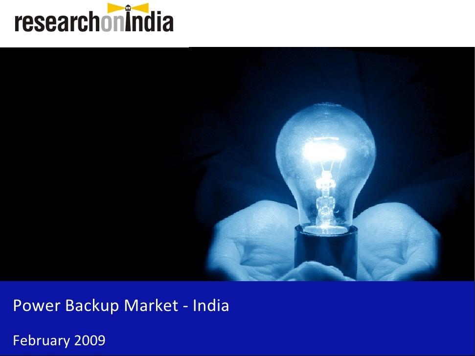 Power Backup Market - India February 2009