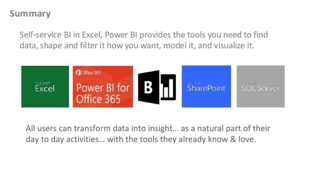 Summary Self-service BI in Excel, Power BI provides the tools you need to find data, shape and filter it how you want, mod...