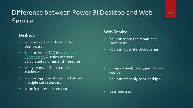 Difference between Power BI Desktop andWeb Service Desktop  You cannot share the report or Dashboard.  You can write DAX...