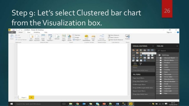 Step 9: Let's select Clustered bar chart from theVisualization box. 26