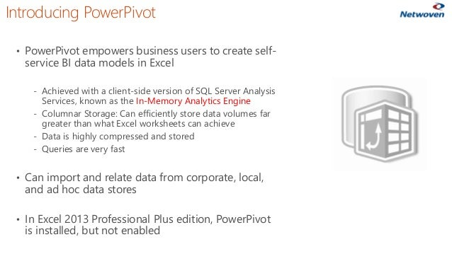 Introducing PowerPivot • PowerPivot empowers business users to create self- service BI data models in Excel ‐ Achieved wit...