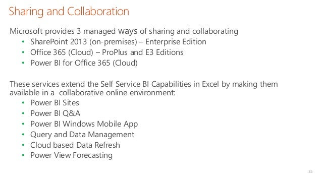 Sharing and Collaboration 35 Microsoft provides 3 managed ways of sharing and collaborating • SharePoint 2013 (on-premises...