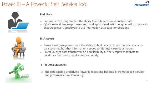 Power BI – A Powerful Self Service Tool 52 End Users o End-users have long wanted the ability to easily access and analyze...
