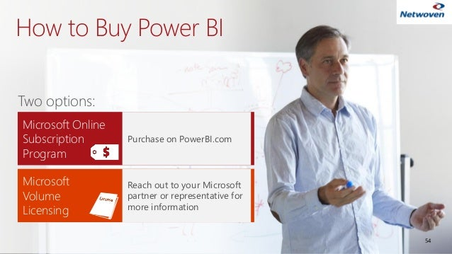 How to Buy Power BI 54 Two options: Microsoft Volume Licensing Reach out to your Microsoft partner or representative for m...