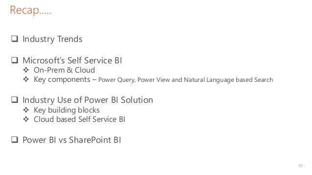 57 Recap…..  Industry Trends  Microsoft's Self Service BI  On-Prem & Cloud  Key components – Power Query, Power View a...