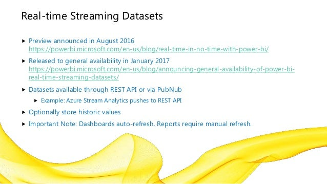 Power Bi Streaming Datasets