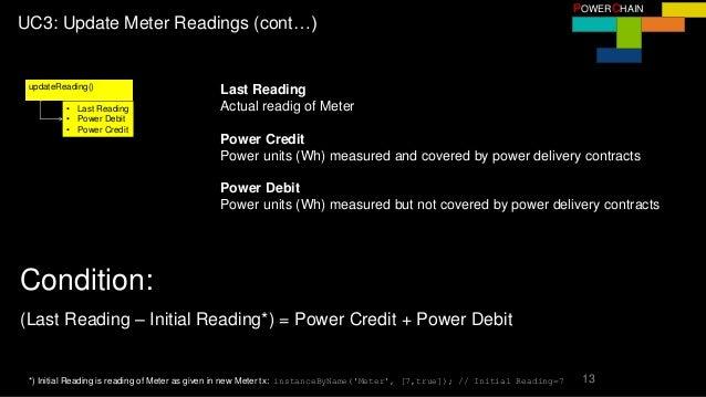 13 POWERCHAIN UC3: Update Meter Readings (cont…) updateReading() • Last Reading • Power Debit • Power Credit Last Reading ...