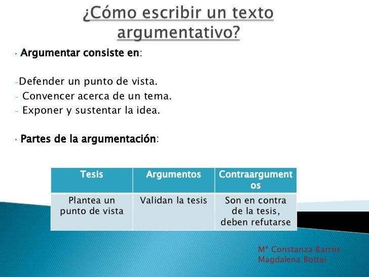¿Cómo escribir un texto argumentativo?<br /><ul><li>Argumentar consiste en: