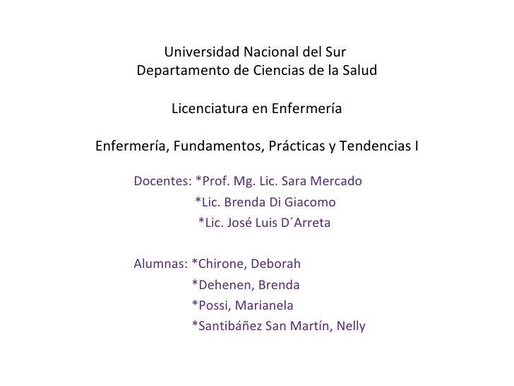 Universidad Nacional del Sur      Departamento de Ciencias de la Salud           Licenciatura en EnfermeríaEnfermería, Fun...