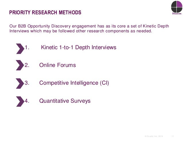 11© Duarte, Inc. 2014 PRIORITY RESEARCH METHODS Our B2B Opportunity Discovery engagement has as its core a set of Kinetic ...