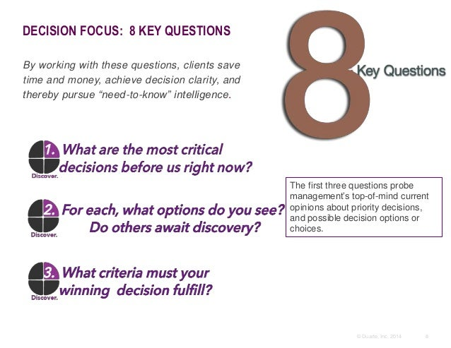 8© Duarte, Inc. 2014 DECISION FOCUS: 8 KEY QUESTIONS By working with these questions, clients save time and money, achieve...