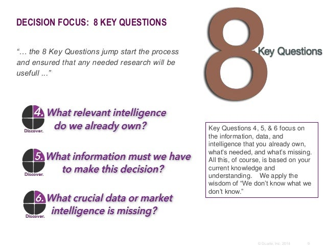 """9© Duarte, Inc. 2014 DECISION FOCUS: 8 KEY QUESTIONS """"… the 8 Key Questions jump start the process and ensured that any ne..."""