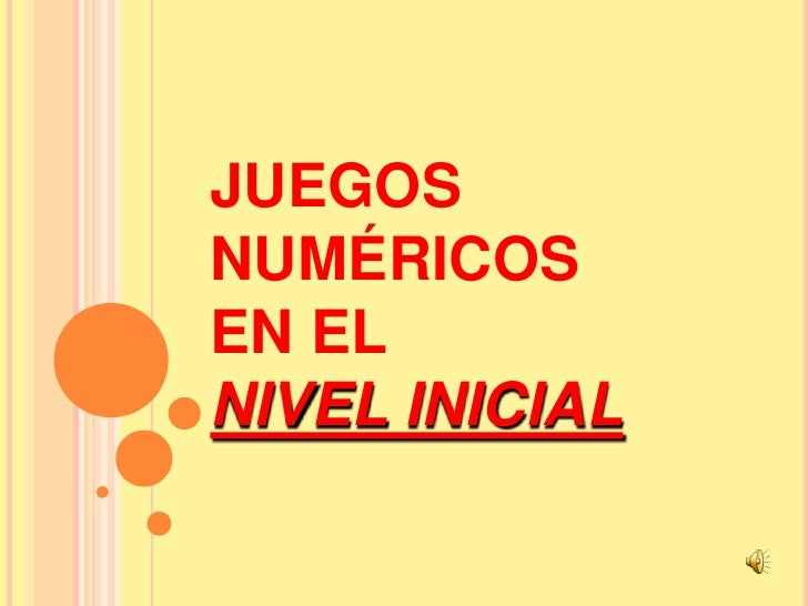 JUEGOS  NUMÉRICOS EN EL NIVEL INICIAL<br />