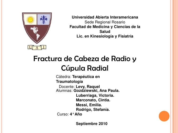 FRACTURA DE CABEZA DE RADIO Y CUPULA RADIAL