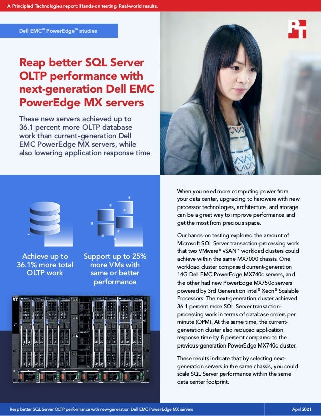 Reap better SQL Server OLTP performance with next-generation Dell EMC PowerEdge MX servers These new servers achieved up t...